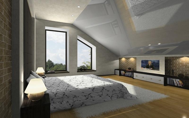 Натяжной потолок под углом