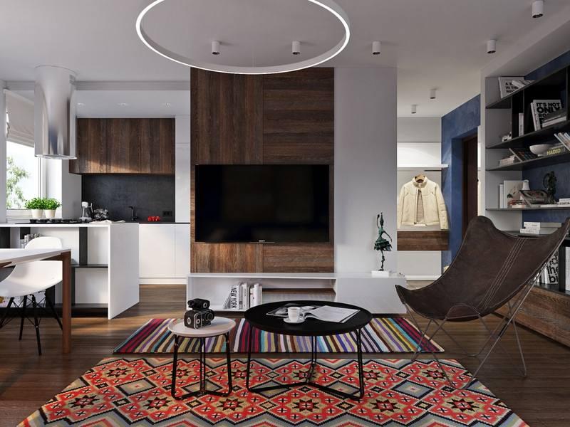 Натуральные отделочные материалы в интерьере квартиры-студии
