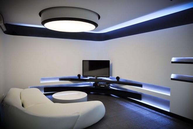 натяжной потолок черно белый в стиле хай-тек