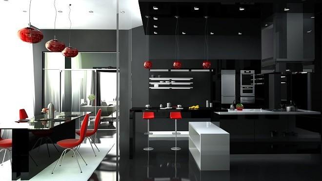 натяжной потолок чёрно белый в кухне стиле хай-тек