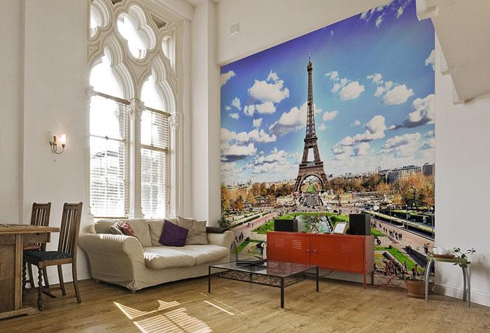 Фотообои с Эйфелевой башней в столовой