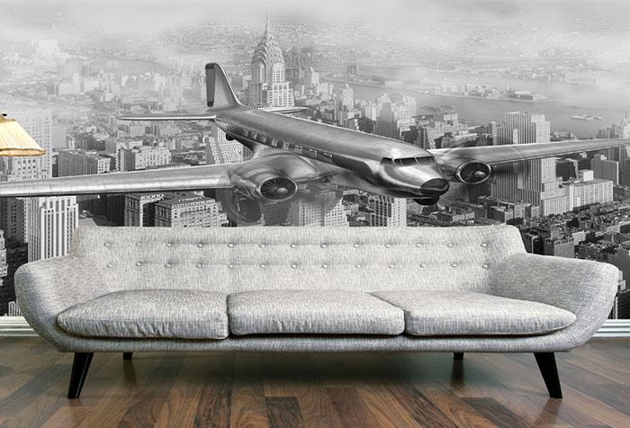 Черно-белые фотообои с городом и самолетом