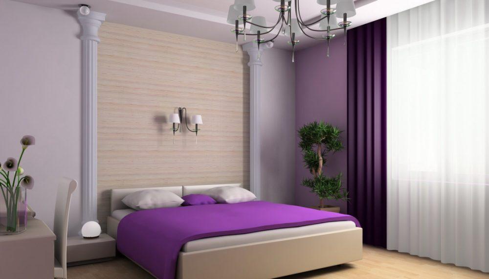 Сочетание штор и обоев в спальне