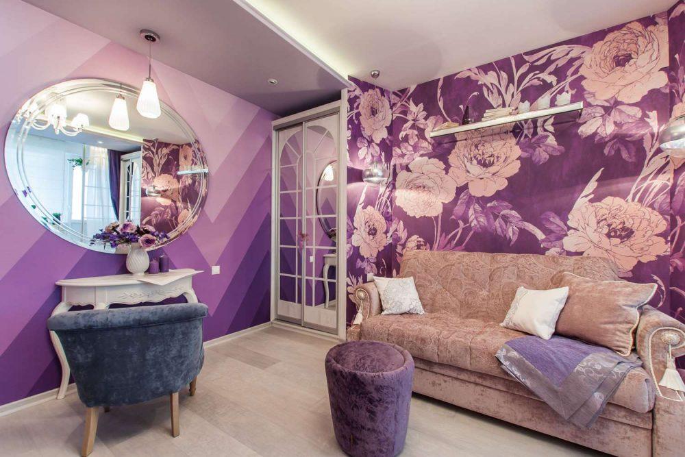 Сиреневый дизайн гостиной
