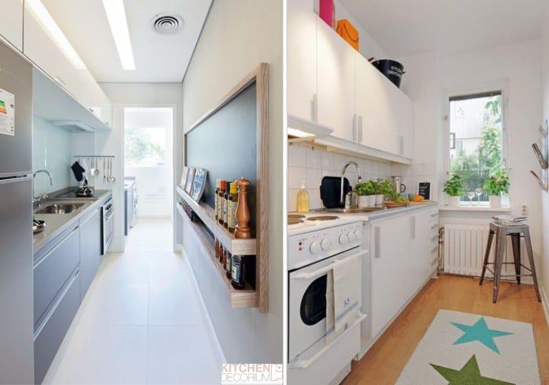 Однорядная планировка узкой кухни без обеденной зоны