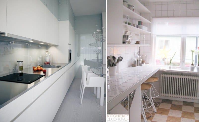 Однорядная планировка узкой кухни - обеденная зона