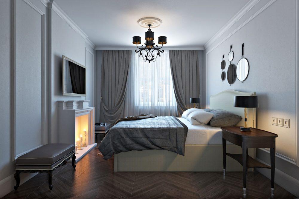 oformlenie-spalni-s-dekorativnym-kaminom