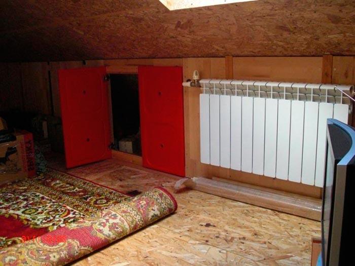 отопление комнаты на чердаке