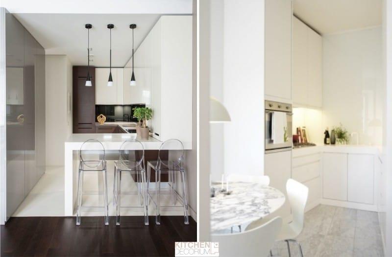 П-образная узкая кухня