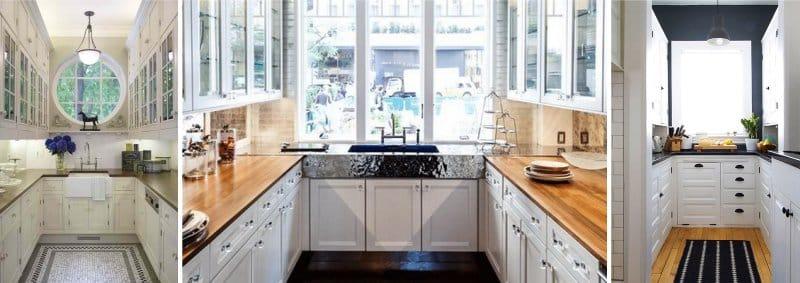 П-образная узкая кухня без столовой зоны