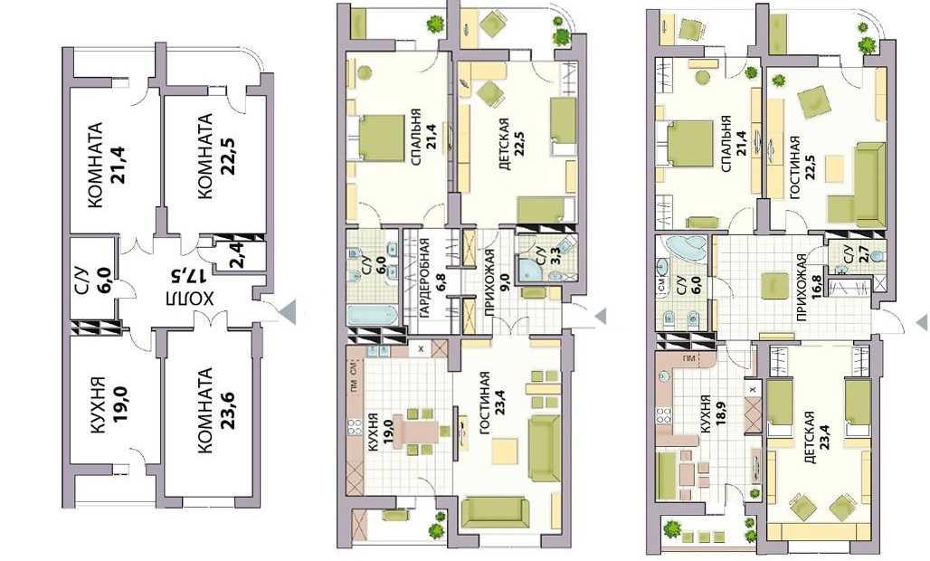 Изменение площади коридора