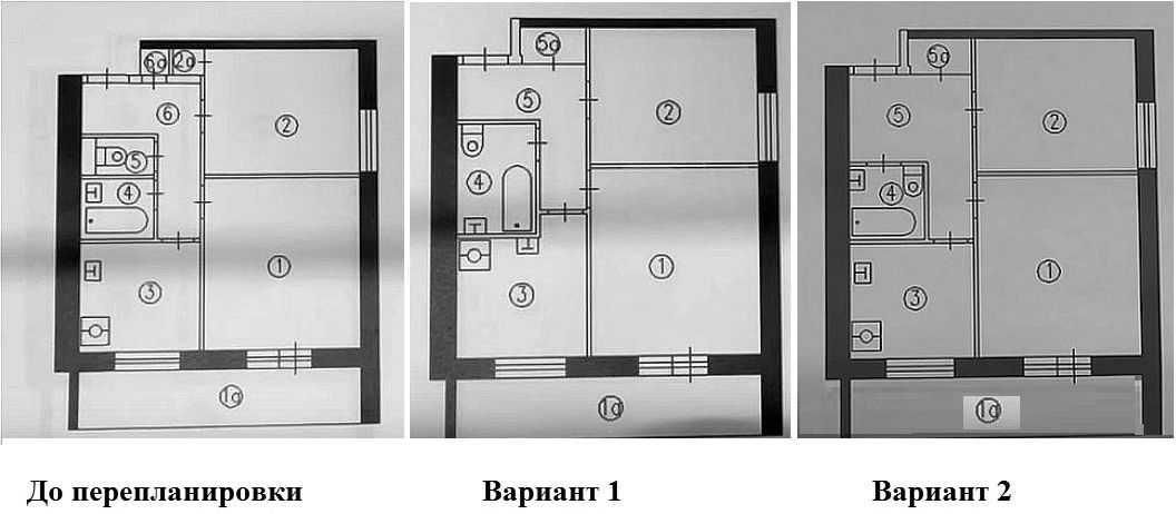 Вариант перепланировки 2 комнатной квартиры с изменением площади санузла или прихожей