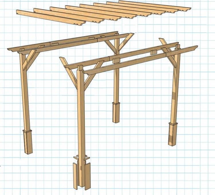 Сборка деревянной перголы своими руками - общая схема.
