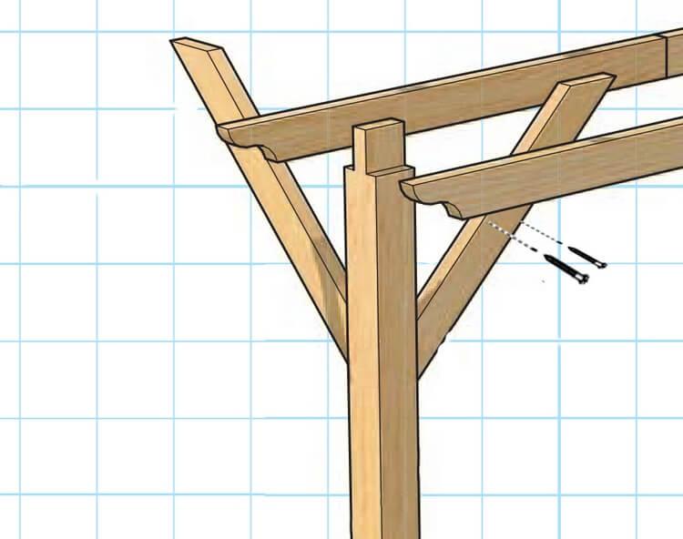 Технология монтажа несущих балок перголы из дерева.