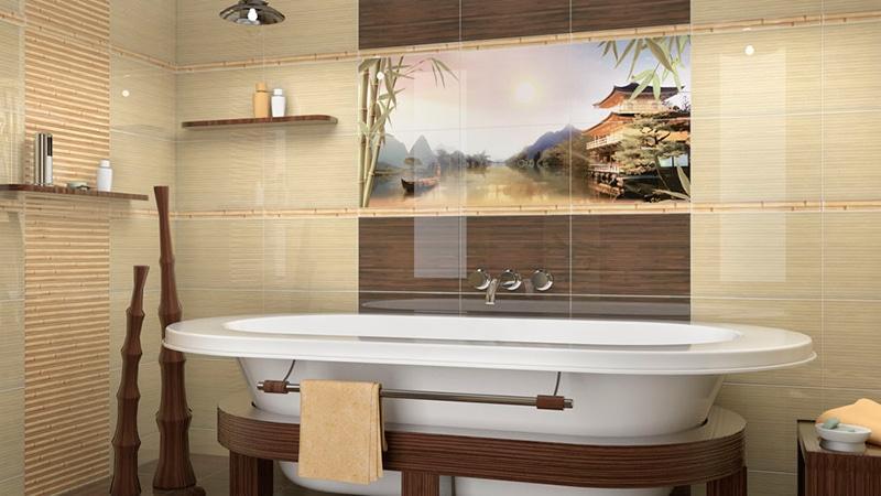 Плитка бамбук в ванной