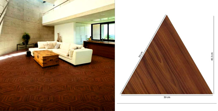 Размеры треугольной плитки и способ её использования в интерьере