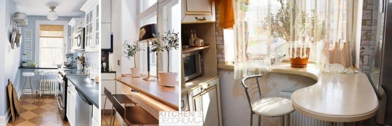 Подоконник-стол на узкой кухне