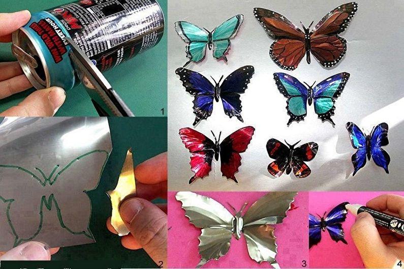 Бабочки на стену своими руками - Бабочки из жестяных баночек