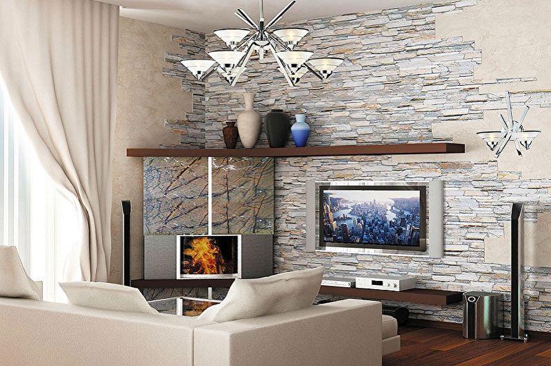 Декоративный камень в интерьере гостиной