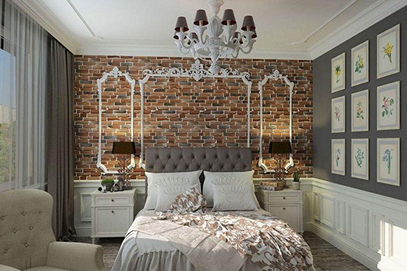 Декоративный камень в интерьере спальни