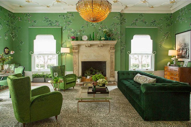 Зеленые обои для гостиной - Цвет обоев для гостиной