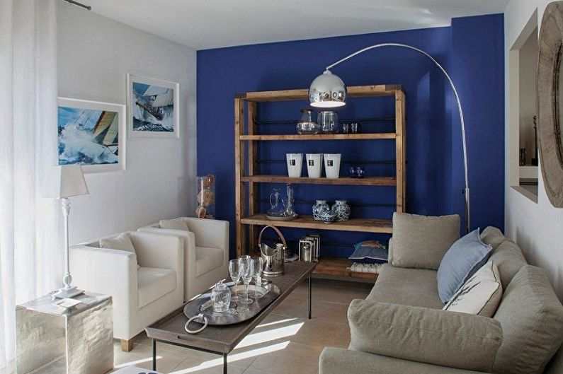Синие обои для гостиной - Цвет обоев для гостиной