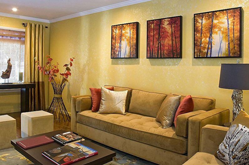 Желтые обои для гостиной - Цвет обоев для гостиной