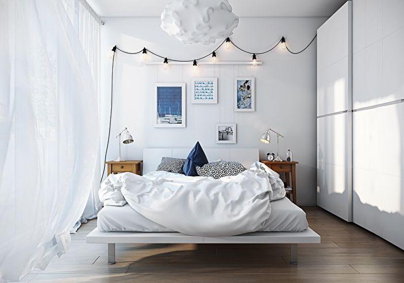 Дизайн маленькой спальни в белом цвете - фото