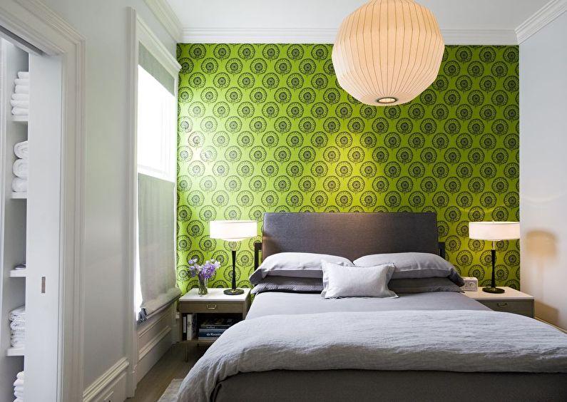 Дизайн маленькой спальни в зеленых тонах - фото