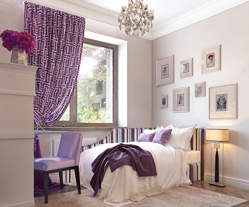 Дизайн маленькой спальни в фиолетовых тонах - фото