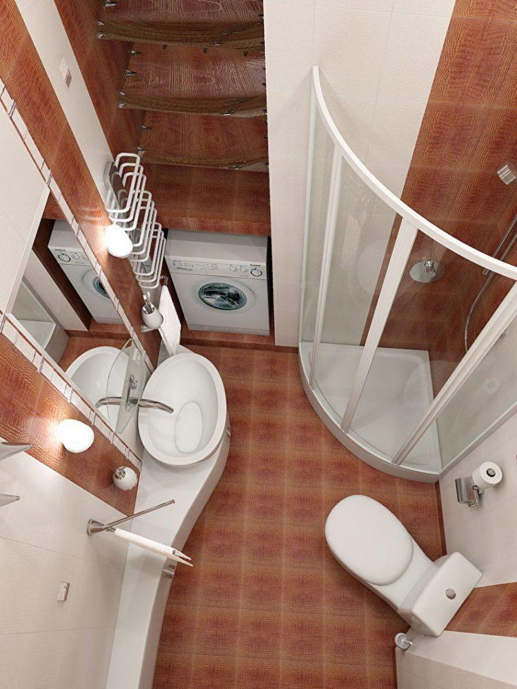 Размещение раковины и унитаза в ванной комнате 3 кв.м. - фото