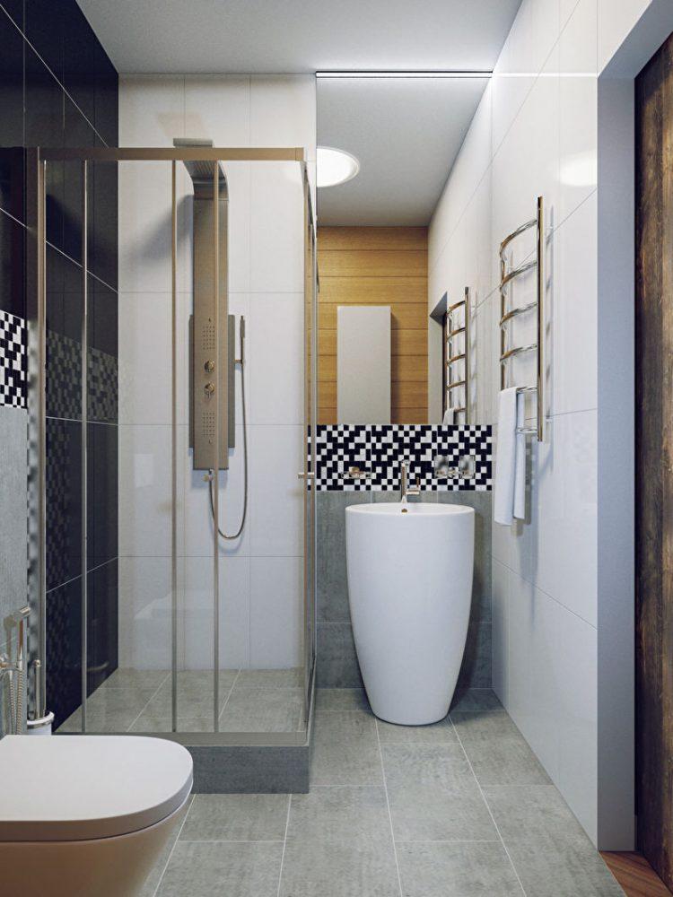 Дизайн ванной комнаты 3 кв.м. в стиле минимализм - фото