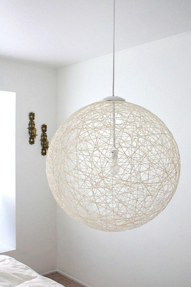 Декор комнаты своими руками - Абажур из ниток