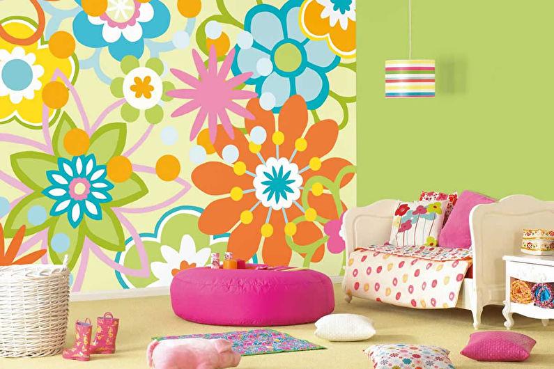 Комбинирование обоев в детской комнате