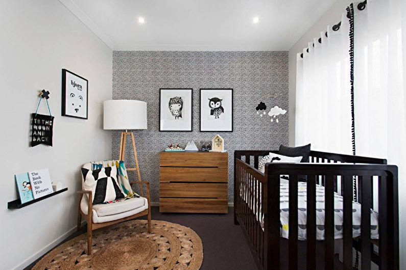 Черно-белые обои для маленькой детской комнаты - фото