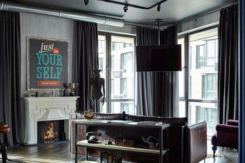 Дизайн гостиной в стиле лофт - Декор и текстиль