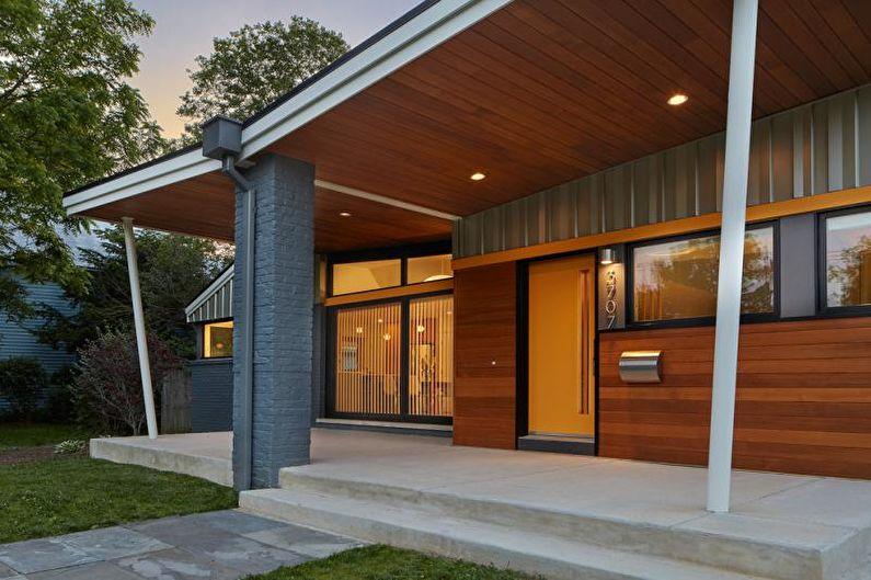 Оформление крыльца из бетона для частного дома - фото