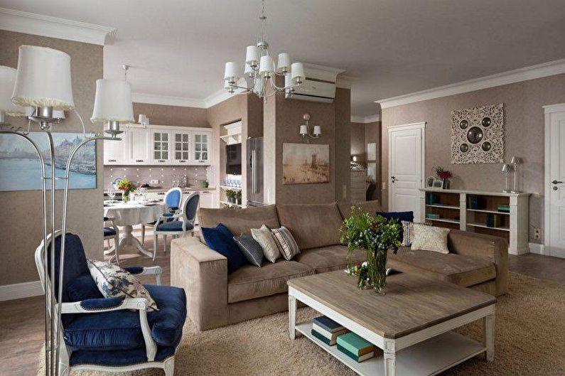 Дизайн гостиной в стиле прованс - Освещение