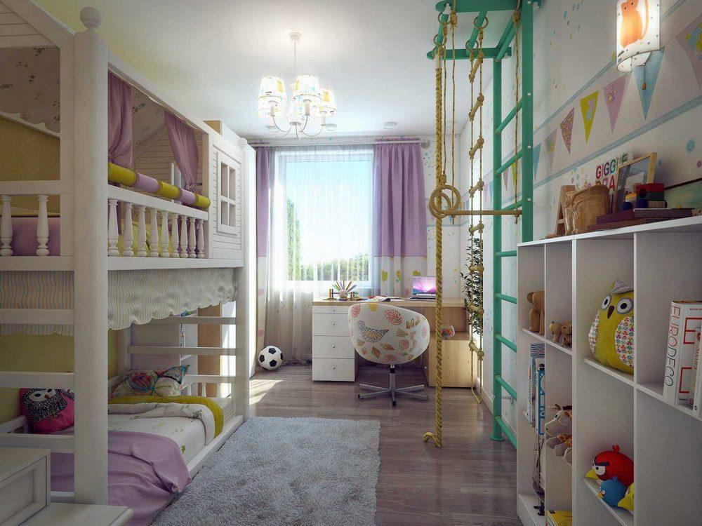 вариант яркого дизайна детской для двоих девочек