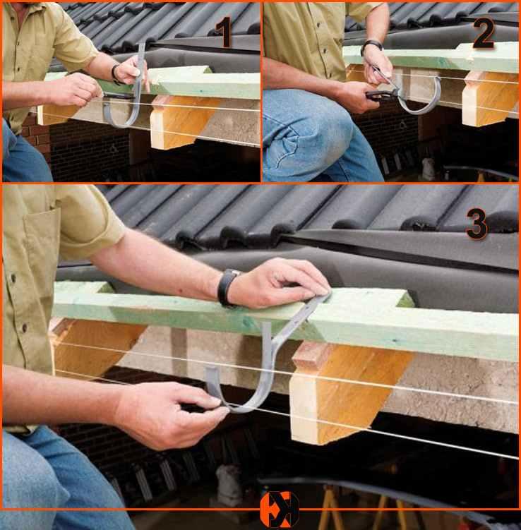 Процесс монтажа крюков для водосточной системы