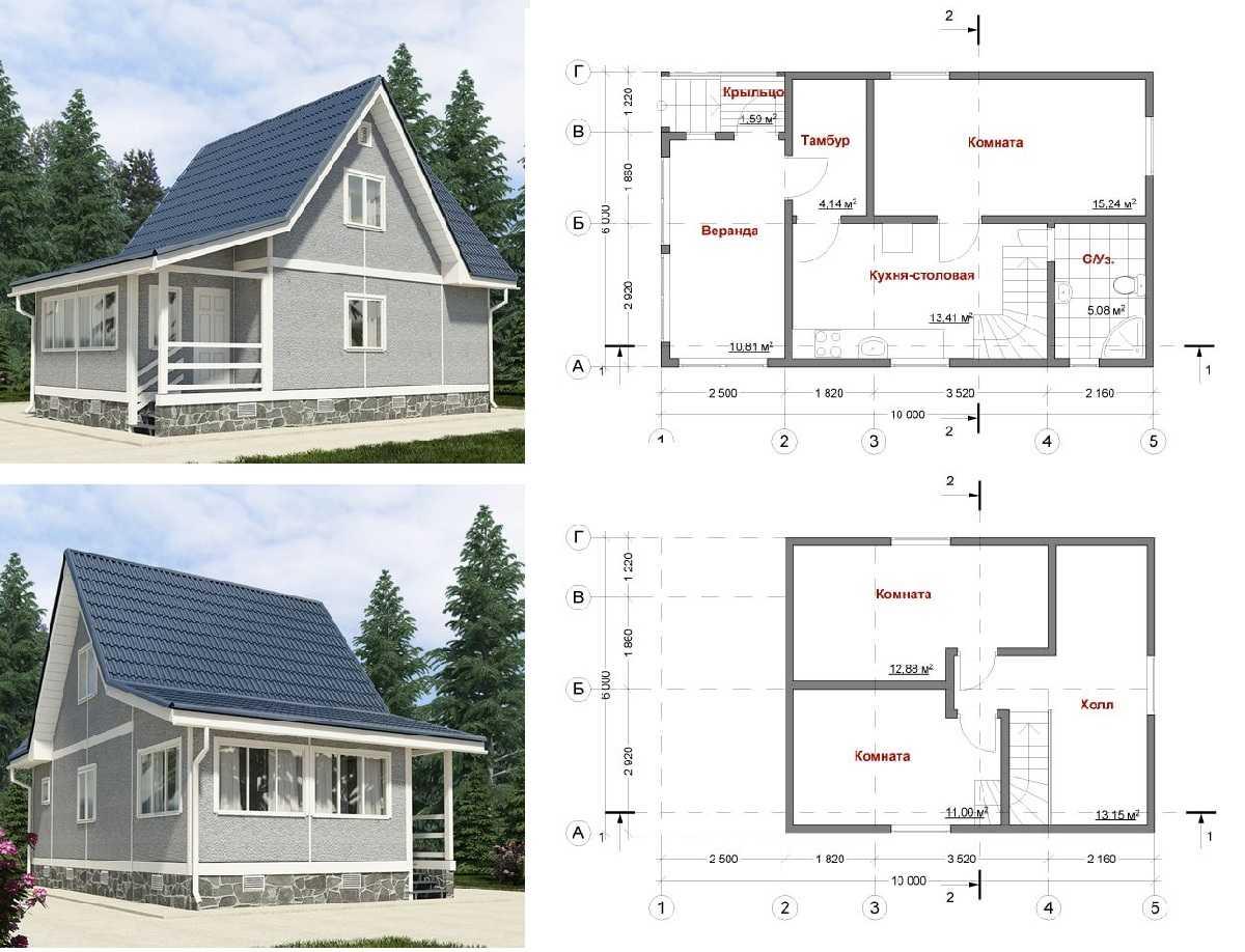Дача с крытой верандой и мансардой 6*10 метров: поэтажная планировка