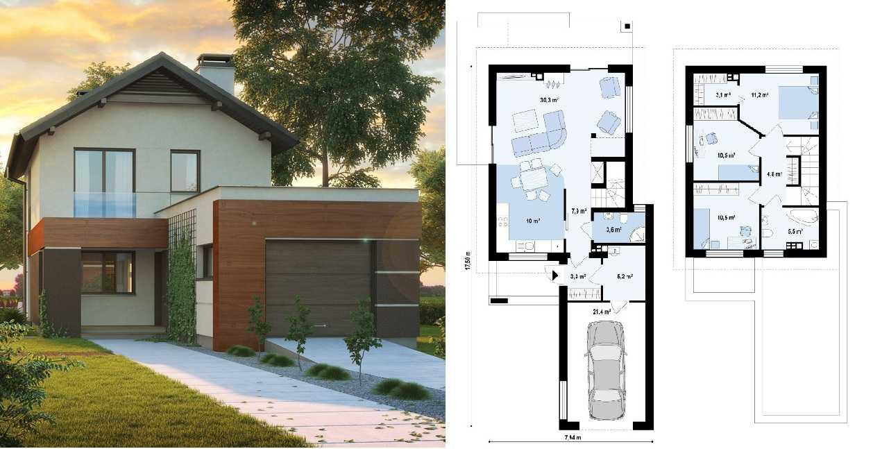 Проект небольшого двухэтажного дома для дачи с пристроенным гаражом: жилая площадь 100 кв. м, гараж на одну машину