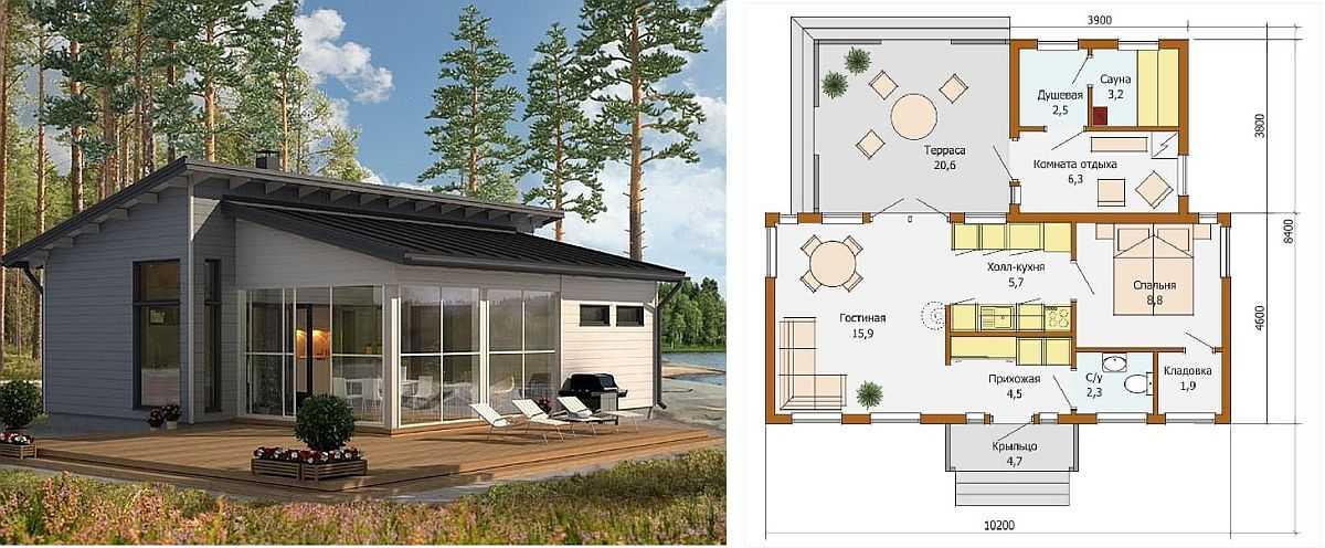 Проект дачного дома с баней/сауной в скандинавском стиле