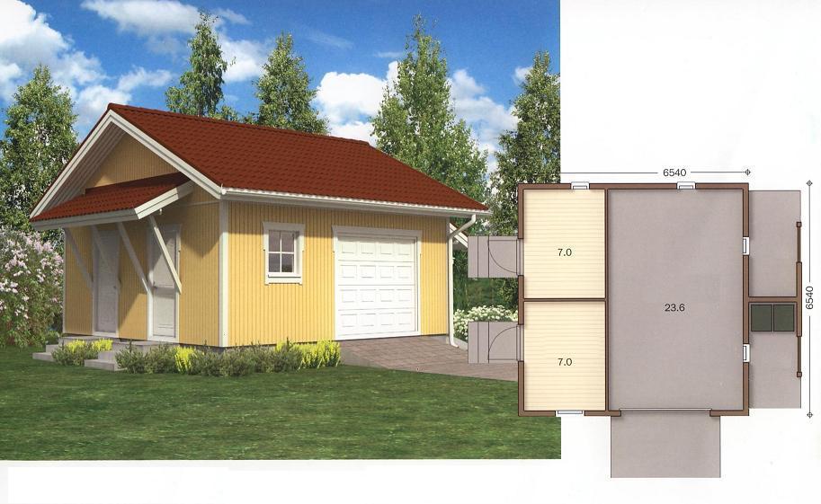 Проект каркасной постройки: хозблок с гаражом и навесом