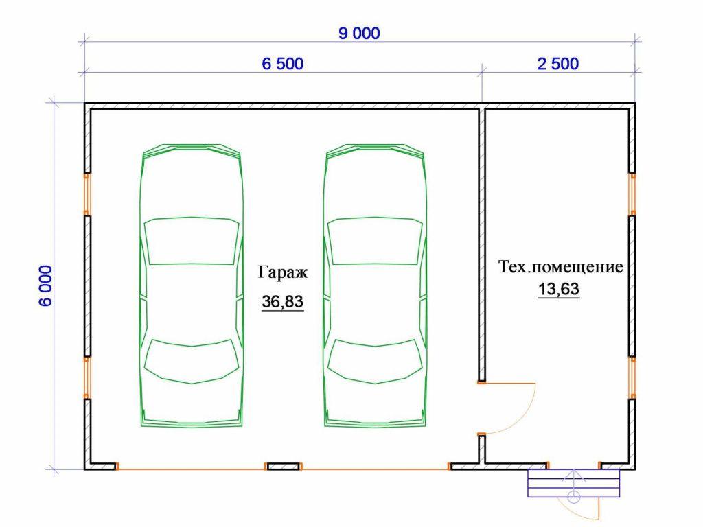 проекты гаражей с хозблоком и навесом