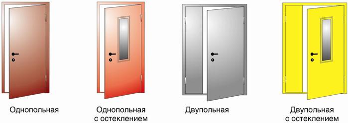 Типы противопожарных дверей
