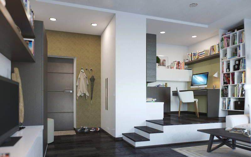 Рабочее место на подиуме в небольшой квартире-студии