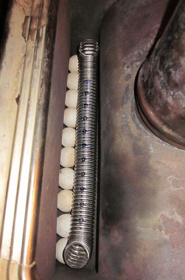 Расположение трубы в печи