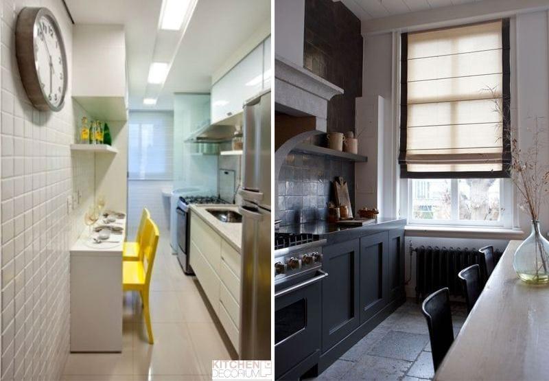 Расстановка мебели на узкой кухне