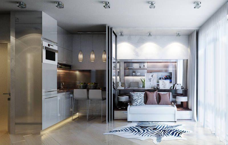 Раздвижные перегородки в интерьере маленькой квартиры – студии